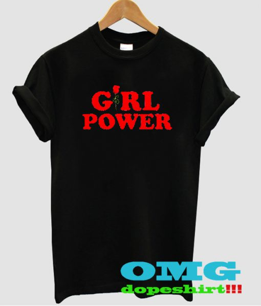 Girl power with rose t shirt
