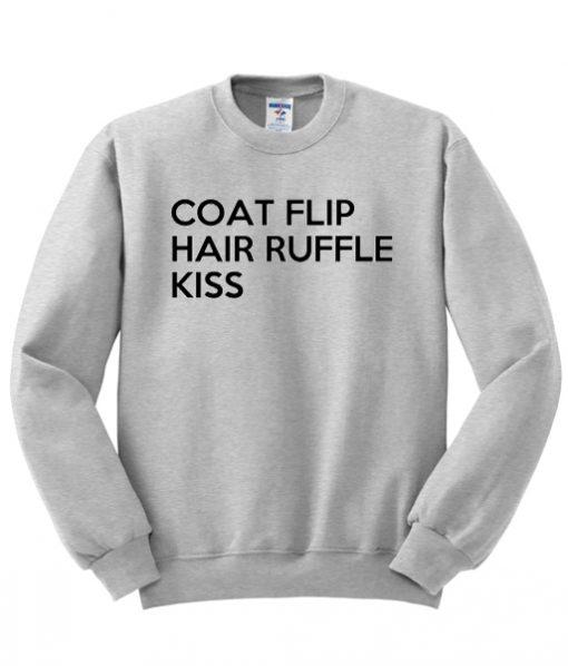 Coat Flip Hair Ruffle Kiss Sweatshirt
